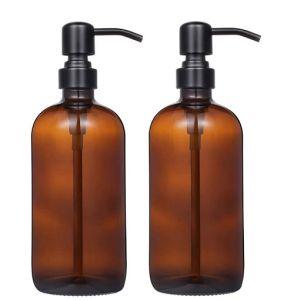 500 ml de vidrio ámbar dispensador de jabón atomizador