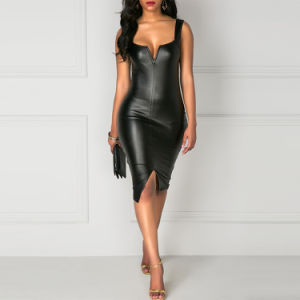 黒く広いストラップの前部スリットPUの細い服