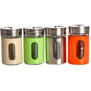 El color de acero inoxidable especia de vidrio botella con girar la tapa la boca
