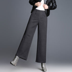 Pantaloni grigi di Palazzo del piedino largo grasso della donna dell'OEM 2017 di modo