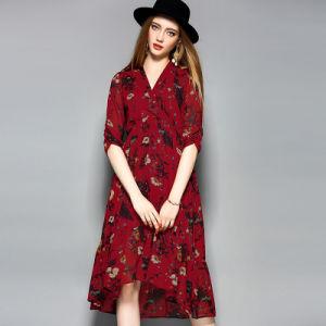 Impresso Floral elegante vestido de noite mulheres solto