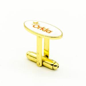 Alta Moda personalizada esmalte de Metal Polido Mens Sterling Silver Punhos de Aço Inoxidável Movimento de Design Personalizado Novidade Granel Cufflink Metais folheados a ouro