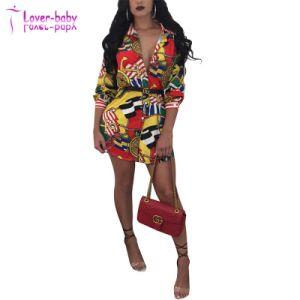 Col à revers imprimé tissu sain Mini robe