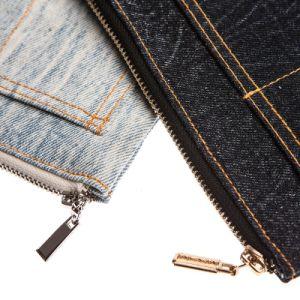 Sac d'emballage cosmétique de déplacement matériel de sac de tirette de sac de jeans de mode
