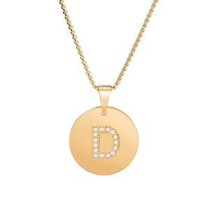 Jóias de ouro de 14K a-z sorte capital pendente de letra do alfabeto inicial Zircon Colar Comprimento ajustável