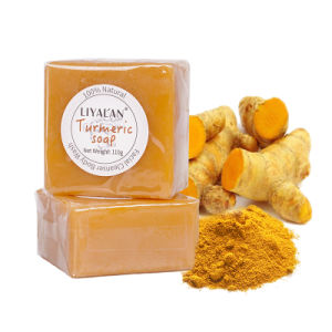 Private Label natural orgánica jabón de baño hechos a mano Tumeric jabón para blanquear la piel