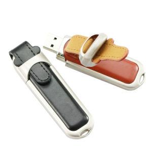 最上質の革USBのフラッシュ駆動機構のメモリディスク1GB