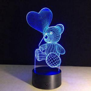 Lampada di scrittorio della Tabella dell'indicatore luminoso di notte di illusione dell'orso 3D LED del cuore per il regalo dei capretti