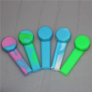 Los pequeños tubos de irrompible de hierba de cigarrillos de tabaco de fumar del tubo de la mano una cuchara de silicona de tubo con recipiente de metal