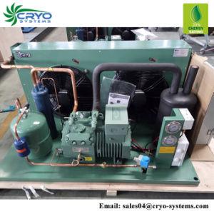 Pé na unidade de condensação no exterior do resfriador desliza na unidade de refrigeração