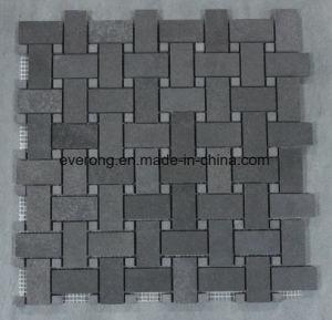 De Tegels van het Mozaïek van het Basalt van de Steen van de Lava van Grey&Black voor de Decoratie van de Muur