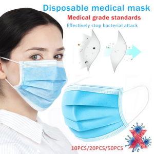 50PCS 3 telas desechables antipolvo Salon Earloop cara la boca blanca máscaras las máscaras de la seguridad de PM2,5 bacteriana de la gripe