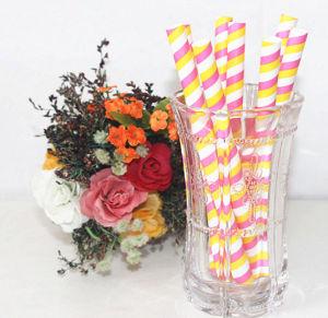Jetables en papier à rayures de couleur paille artistique pour le parti