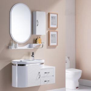 新しいデザイン楕円ミラーとの楕円形の壁に取り付けられたPVC浴室の虚栄心