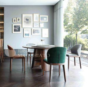 Estilo italiano moderno maciza mesa de comedor de color nogal