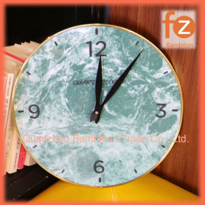 Reloj de pared de madera de 12 con el bastidor de metal dorado Fz016001g