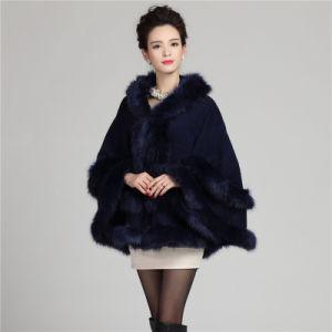 Fashion Hooded Acrylic Knitted女性毛皮の冬のショール(YKY4467)
