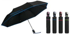 3 Sección Pongee Color sólido la apertura automática paraguas