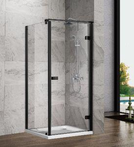 Sally quadrada de 8 mm de chuveiro em vidro de dobradiça de porta com caixa de aço inoxidável em preto para banheiro