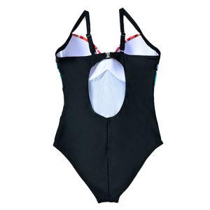 Het kleurrijke Één stuk van de Opdrukoefening van de Taille van Af:drukken Hoge plus Grootte Nylon Swimwear