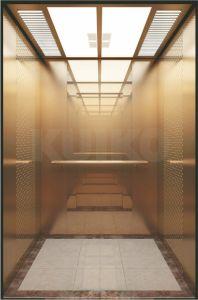 Подъем Пассажира Коммерчески Зеркала Rose Лифта Kjx-Sw54 Золотистого Стальной