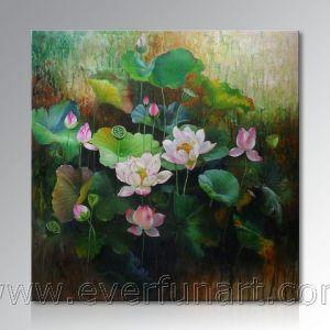 Pittura del fiore di loto della decorazione della parete bella (ERH-108)