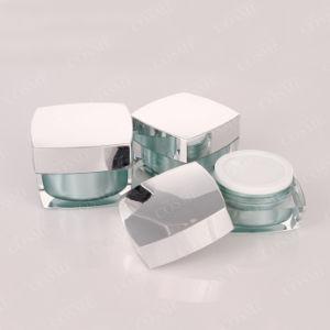 化粧品のための銀製の金の正方形の高品質のプラスチックアクリルの装飾的なクリーム色の瓶