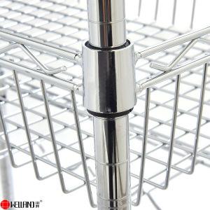 Casa móvil bricolaje Cesta de alambre de metal cromado Carrito de almacenamiento de alimentos con placa MDF
