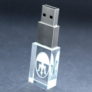 高品質のLED軽いUSB 2.0/USB 3.0のフラッシュ駆動機構32GB 64GBが付いているカスタム3Dロゴの水晶USB