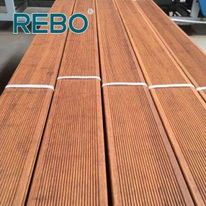 precio de fábrica exterior tratada con calor pisos de madera de bambú