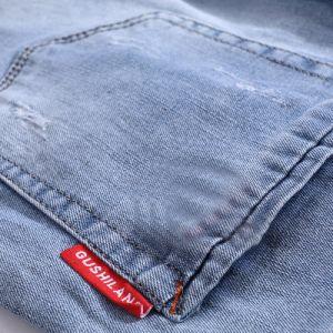 Luz azul Mosca Zip Lavar Roupa Jeans reta para homens