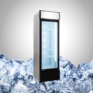 Negro refrigerador refrigerador con puerta de vidrio para alimentos y bebidas