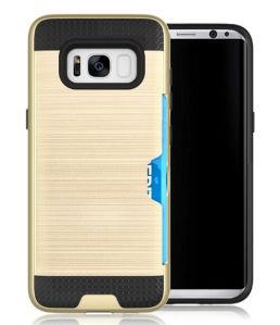 Samsung S8の例のために裏表紙はIDのクレジットカードスロットが付いているハイブリッドTPUのプラスチック札入れカバー電話箱にブラシをかけた