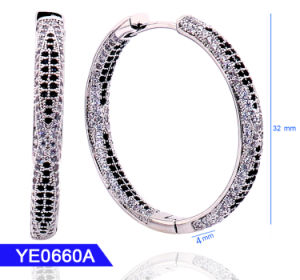 Novo Design de jóias de 925 Sterling Prata ou Bronze 18K Gold Zircónia Cúbicos Grandes Hoop Brincos para Mulheres