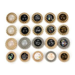 H65 6 botones de plástico patrón de diamante de color dorado
