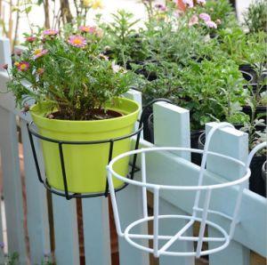 Jardin de fleurs de fer de gros d'usine Stand métallique rond européenne balcon balustrade extérieure d'étagère de fleurs suspendus pendaison fleur