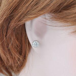 Устраивающих украшения серебристый цвет родием одной шпилькой Earring Crystal