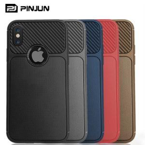 iPhone Xs最大Xr 7/8plusのためのカーボンファイバーTPUのセルまたは携帯電話のケース