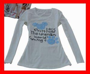 Ladies' Long Sleeves White Cotton T-Shirt -3