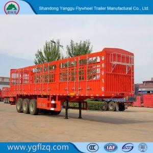 De wijd Gebruikte Staak van 3 Assen/de Zij Semi Aanhangwagen van de Vrachtwagen van de Raad/van de Omheining voor Lading/Fruit/Vee/Mineraal
