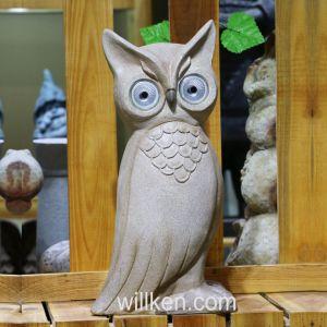 La decoración exterior jardín artesanía Owl ornamento con luz solar para la decoración
