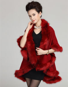 女性は作るアクリルの編まれたのどの毛皮の冬のショール(YKY4464)を