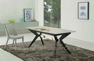 Extensión MDF moderno de vidrio de mármol Cymbate mesa de comedor