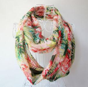 Mulher Fashion Flower Impresso Chiffon Infinito lenço de mola (YKY1100)