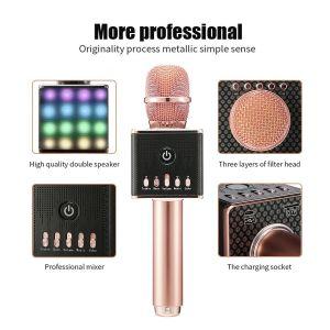 무선 Bluetooth Karaoke 마이크 - 스피커, LED 빛을%s 가진 휴대용 KTV Karaoke