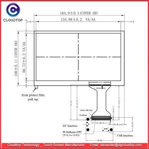 Comité van de Aanraking van 7.0 Duim het Capacitieve voor 154.08 X 85.92mm het Actieve Comité (AA) van het Gebied TFT LCD