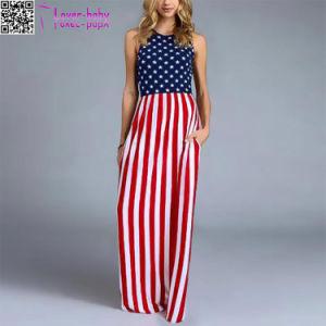 Pays de l'amour drapeau américain Maxi robe avec des poches L51416