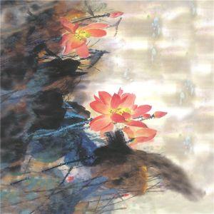 Tissu de l'impression numérique textile personnalisé Silk (KQC-0030)