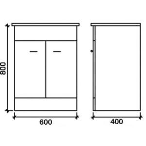 Unità bianca di vanità della stanza da bagno di alta lucentezza con il bacino dell'inserzione (600mm)
