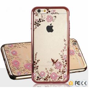 Teléfono móvil precio barato caso de TPU accesorios ultra transparente con cristal de diamante de oro que contiene la contraportada de lujo para el iPhone 6 Plus 6s